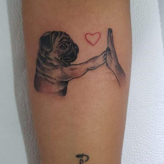 High Five Pug Tattoo by Beto Tattoo