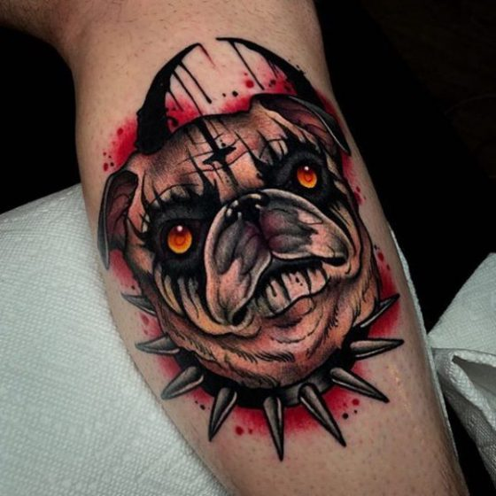 Heavy Metal Pug Tattoo by Ick Abrams of GRIM TATTOO, PA, USA