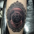 Portrait Tattoo of Roxy the pug.Tattooed by Pete Belson @ Dragstrip Tattoos