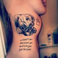 "A tattoo of Kalyn's beloved pug, 'Gypsy', tattooed by Josh Krogman - ""A friend is one who knows you and loves you just the same"""