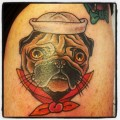 Nautical Pug Tattoo, by Brandon Blevins at Thrill Vulture Tattoo