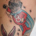 Boris the Wonder Pug - Tattoo by Kapten Hanna Idle Hand Tattoo in San Francisco, USA
