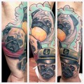 Lots of Pugs - Tattooed by Matthew Hockaday at Dixie tattoo Co. in Michigan, USA