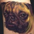 Realistic Pug Portrait, Tattooed by Nate Beavers from Houston TX USA - Web: NateBeavers.com - Insragram: @NateBeavers