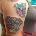 Lucy and Linus the Pugs in the style of Dean Russo's paintings - Tattooed by Tara of Body Designs
