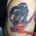 Superman Pug - Tattooed by Josh Herrera at Skin Factory Tattoo, Las Vegas