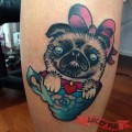 Pug in a Cup - Tattooed by Cass Bramley at Trailer Trash Tattoo, AUS