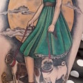 Pin Up Diana the Huntress with her two hunting dogs - Tattooed by Melissa Szeto of Love Hate Tattoo, Notting Hill, UK