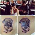 Back Pug Tattoo on Clau Munoz