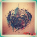 Water colour Hip Pug Tattoo on Roni Salazar by Brian Sanchez