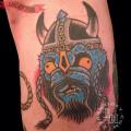 Viking Pug - Artist: Ezra Haidet of Mainstay Tattoo, Austin, Texas, USA