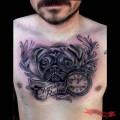 Chest Pug Tattoo by Calavera, Brazil