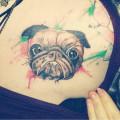 Chest Pug Tattoo on Hannah Tynan