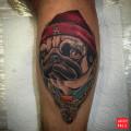Pug Life tattoo by Alvaro Contreras of Wanted Tattoo Studio