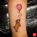 Pug and Balloon tattoo by Jack Allende, UK