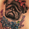 Chest Pug Tattoo by Lucie Morticia of Guns n Ink Tattoo Studio