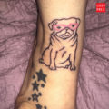 Pug with Pink Glasses tattoo, submitted by Trisha - IG @freeasabirdtm