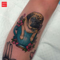 Tea Cup Pug Tattoo, by Sami Locke of One One Eleven Tattoo