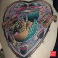 Mermaid Pugs Not Drugs tattoo on Alana