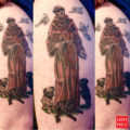 Saint Francis with Pugs Tattoo by Andy Gally