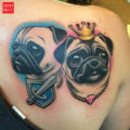 Shoulder pug tattoo by Lysette Knippers