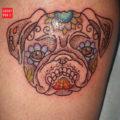 Dot work Pug Tattoo on Josey St-Pierre, by Cory Crosbie of DFA Tattoo