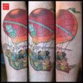 Leg pug tattoo on Cheryl Rowan by Donavan Kinyon of Golden Owl