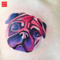 Chest pug tattoo on Guillermo