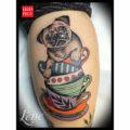 Teacup Pug Tattoo by Lenee of the Black Mess Hamburg