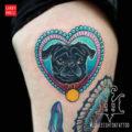 Leg pug tattoo by Jon Leighton of Fusion Ink