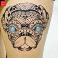 Leg pug tattoo on IG camigalleani