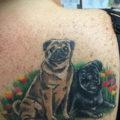 Shoulder pug tattoo on Linda Elwood by Michael at FigSigArts