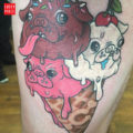 Ice Cream Pug tattoo - design by Boy Roland, tattoo by Remy Chunick of Thunder Bay, Ontario