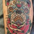 Sugar skull Pug Tattoo by Ryan Tanton of the American Tradition Sacramento, CA